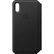 Estuche tipo billetera de piel para el iPhone XS - Negro