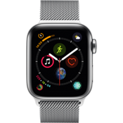 Reloj Apple® Watch Serie 4, caja de acero inoxidable de 40 mm con correa Milanese en color plata
