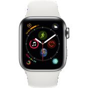 Reloj Apple® Watch Serie 4 GPS + servicio móvil, caja de acero inoxidable de 40 mm con correa deportiva en blanco