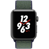 Reloj Apple Watch Nike+, caja de aluminio de {[#1]} mm en color Space Gray con correa deportiva Nike color Midnight Fog