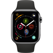 GPS, celular, reloj Apple® Watch Series 4, 44 mm, caja de acero inoxidable color Space Black con correa negra