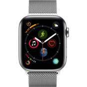 Reloj Apple® Watch Serie 4 GPS + móvil, caja de acero inoxidable de 44 mm con correa Milanese color plata