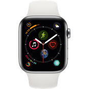 Reloj Apple® Watch Serie 4 GPS + servicio móvil, caja de acero inoxidable de 44 mm con correa deportiva en blanco