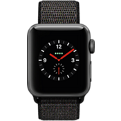 Reloj Apple Watch Series 3, caja de aluminio de 38 mm en gris espacial y correa deportiva negra