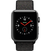 Reloj Apple Watch Series 3, caja de aluminio de 42 mm en gris espacial y correa deportiva negra