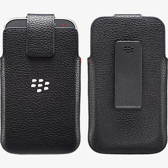 Funda giratoria de piel para BlackBerry Classic - Negro