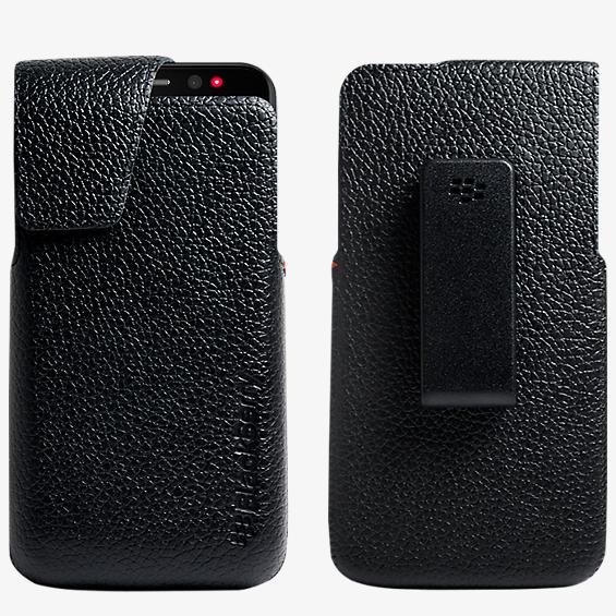 Soporte giratorio de piel para el BlackBerry Z30 - Negro