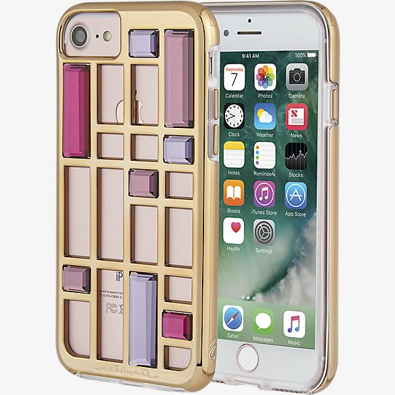 Estuche con diseño de jaula con cristales para iPhone 7 - Color Rose Gold