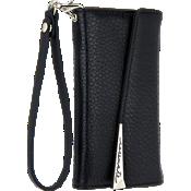 Estuche tipo billetera con pulsera de piel para iPhone 7 - Negro