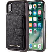 Estuche tipo billetera con espejo para iPhone X - Negro