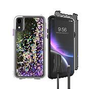 Paquete de carcasa Case-Mate Waterfall, protector de pantalla y cargador para auto para el iPhone XR