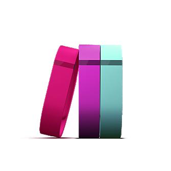Pulseras Flex Vibrant, paquete de 3 (violeta, verde azulado, rosa)