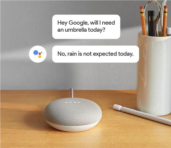 """Google Home Mini con burbujas de comentarios arriba con una conversación. """"OK Google, ¿necesitaré un paraguas hoy?"""" """"No, no se esperan chaparrones para hoy""""."""