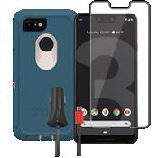 Paquete de protector Otterbox Defender, protector de pantalla y cargador para el Google Pixel 3