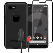 Paquete de protector Otterbox Symmetry, protector de pantalla y cargador para elGoogle Pixel 3