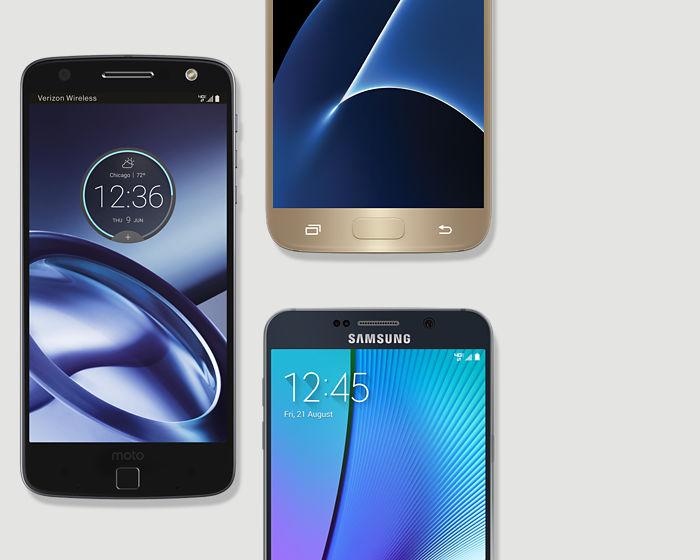 Programa de entrega de Verizon: grupo de smartphones