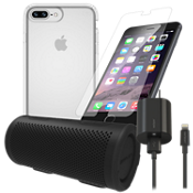 Paquete estéreo, de carga y protección Presidio Clear para iPhone 8 Plus