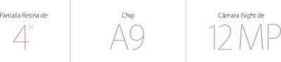 "Pantalla Retina de 4"". Chip A9. Cámara iSight 12 MP."