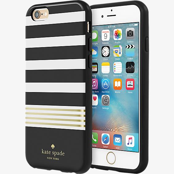 Estuche rígido flexible para iPhone 6/6s - Color Stripe 2 Black/Blanco/Gold Foil
