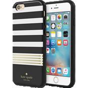 Estuche rígido flexible para iPhone 6/6s - Color Stripe 2 Black/Blanco/Gold Foil
