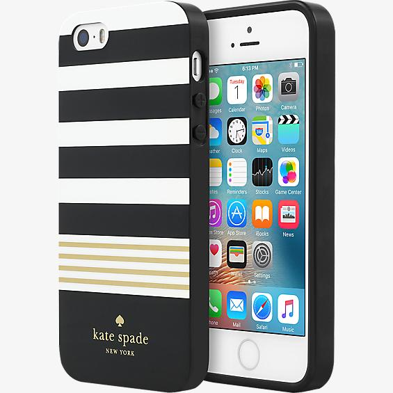 Estuche rígido flexible para iPhone 5/5s/SE - Color Stripe 2 Black/Blanco/Gold Foil