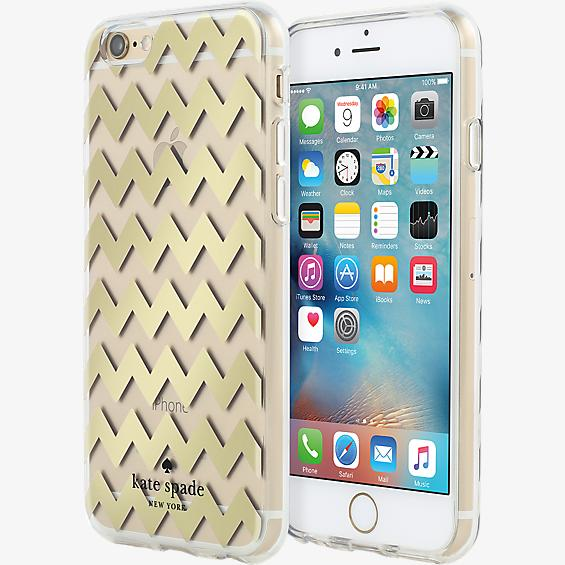 Estuche rígido transparente para iPhone 6/6s - Color Chevron Gold Foil/Transparente