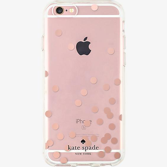 Estuche rígido transparente para iPhone 6/6s - Color Confetti Dot Rose Gold Foil/Transparente