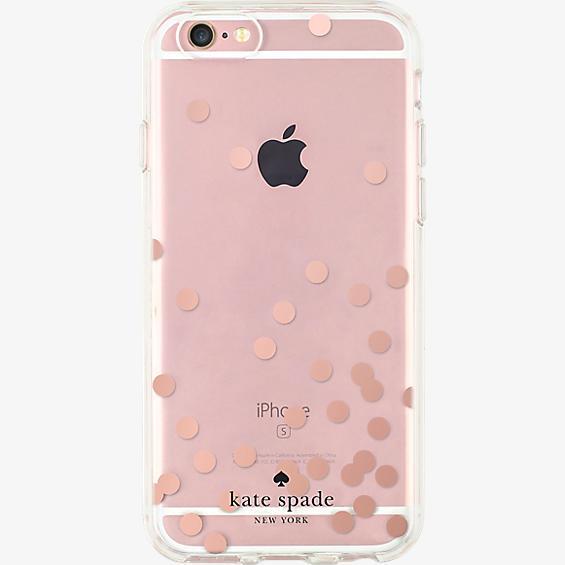 Estuche rígido transparente para iPhone 6/6s - Color Confetti Dot oro rosa Foil/Transparente