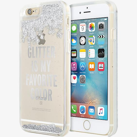 Estuche con líquido transparente y brillantes para iPhone 6/6s - Color Glitter is My Favorite Color (plateado)