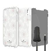 Paquete de estuche duro kate spade Defensive, protección y cargador para iPhone XS Max