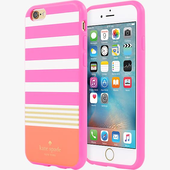 Estuche rígido flexible Stripe 2 para iPhone 6/6s - Rosa/Crema/Color gold foil