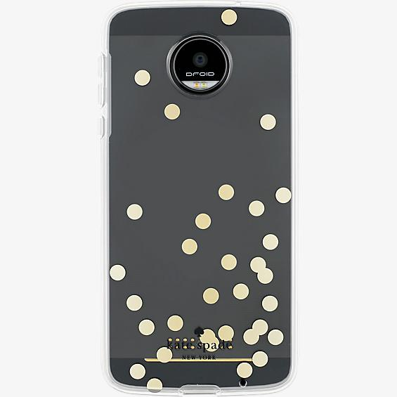 Estuche rígido flexible para Moto Z Droid - Color Confetti Dot Gold Foil/Transparente