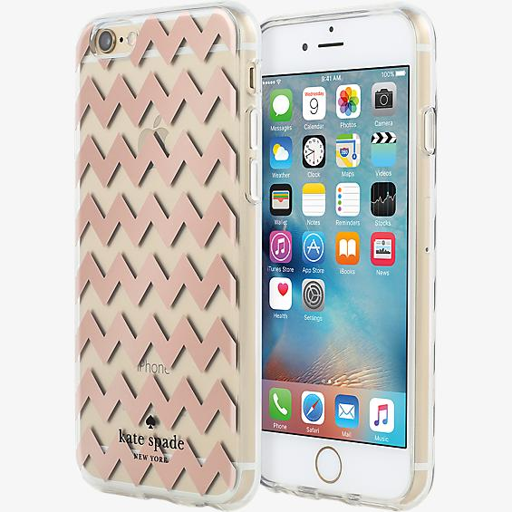 Estuche rígido transparente para iPhone 6/6s - Color Chevron Rose Gold/Transparente