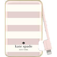Batería delgada de 1500 mAh para aparatos Lightning - Candy Stripe, Cream Rose Gold Foil