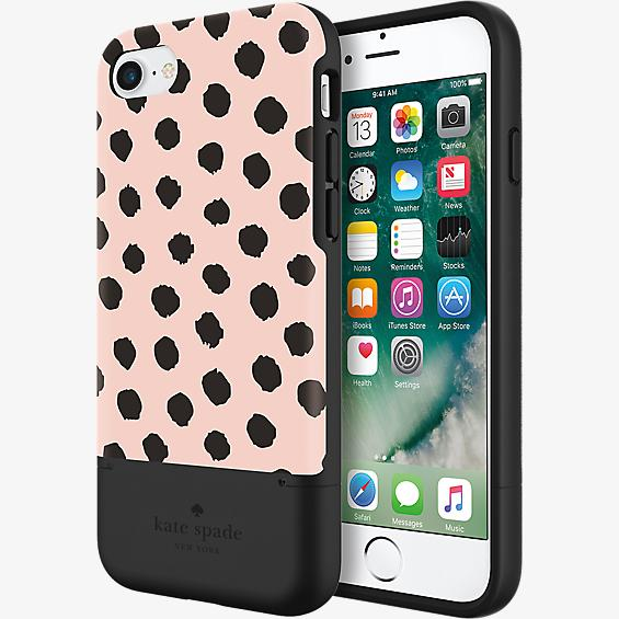 Estuche para tarjeta de crédito para iPhone 7 - Color Musical Dot Blush/Negro