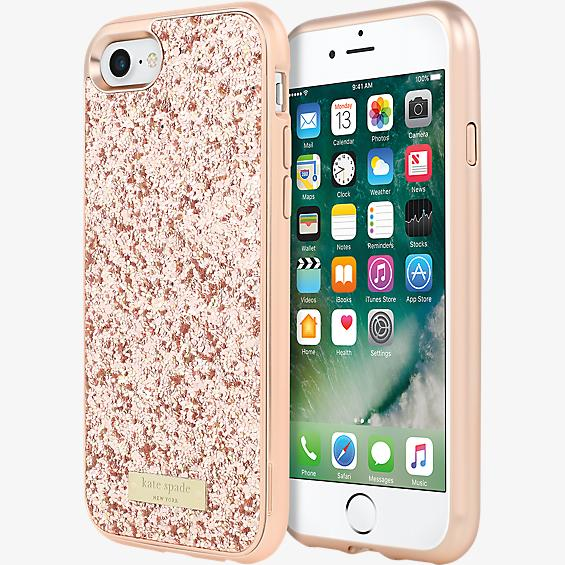 Estuche con brillos y protector para iPhone 7 - Color Exposed Glitter oro rosa/Color oro rosa