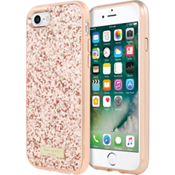 Estuche con brillos y protector para iPhone 7 - Color Exposed Glitter Rose Gold/Color Rose Gold
