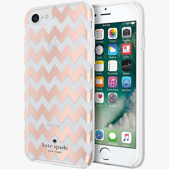 Estuche protector rígido para iPhone 7 - Color Chevron Rose Gold Foil/Transparente