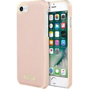 Estuche envolvente para iPhone 7 - Color Saffiano Rose Gold/Placa dorada con logotipo