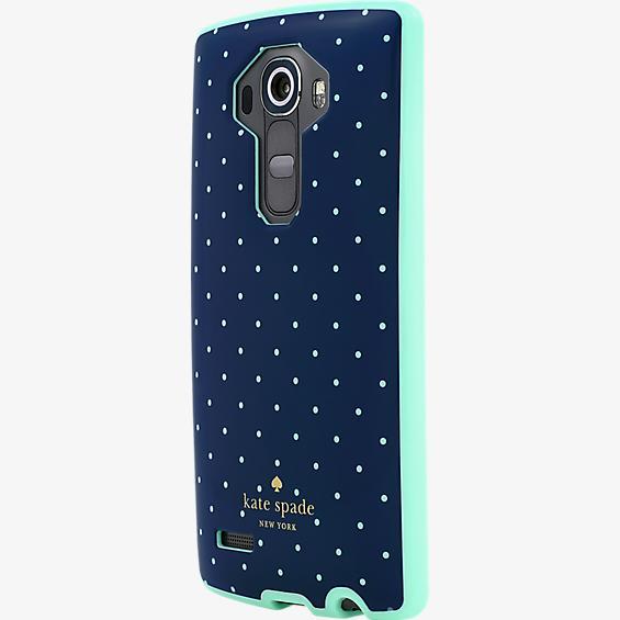 Estuche rígido flexible para LG G4 - Azul marino/Lunares verdes