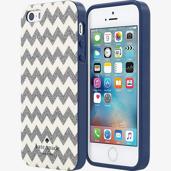 Estuche rígido flexible para iPhone SE - Color Chevron Multi Glitter/Crema