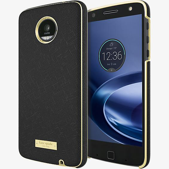 Estuche para Moto Z Play Droid - Color Saffiano Black