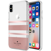 Estuche rígido flexible para iPhone X - Color Charlotte Stripe Rose Gold Foil/Rose Gold Glitter