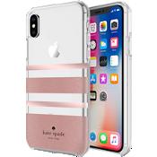 Estuche rígido flexible para iPhone X - Color Charlotte Stripe Rose Gold Foil/Rose Gold Glitter