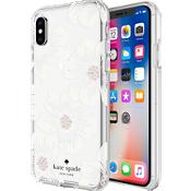 Estuche rígido flexible para iPhone X - Color Hollyhock Floral Clear/Cream with Stones