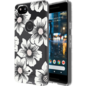 Estuche rígido flexible para Pixel 2 XL - Color Hollyhock Floral Clear/Crema con piedras