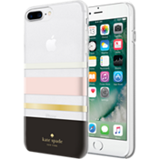 Carcasa dura flexible para iPhone 8 Plus - Negro a rayas/crema/damasco/lámina dorada/transparente