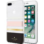 Carcasa dura flexible para iPhone 8 Plus - Negro a rayas/crema/damasco/lámina dorada/transparente