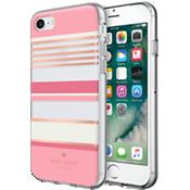 Estuche rígido flexible para iPhone 7 - Rayas rosadas