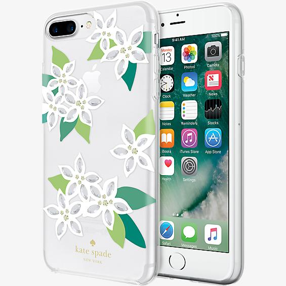 Estuche rígido flexible para iPhone 7 Plus - Blanco floral